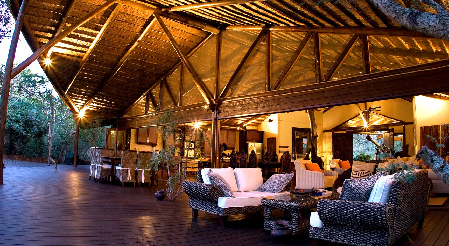 Ihlozi Bush Lodge Front Patio & Entertainment Area